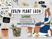 Free Premium Download - Crazy Plant Lady - gardening set