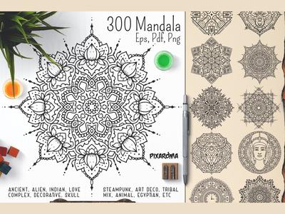 300 Vector Mandala Ornaments
