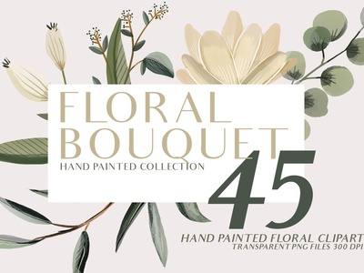 Floral Bouquet hand painted clipart