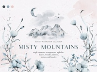 Misty mountains - watercolor clipart