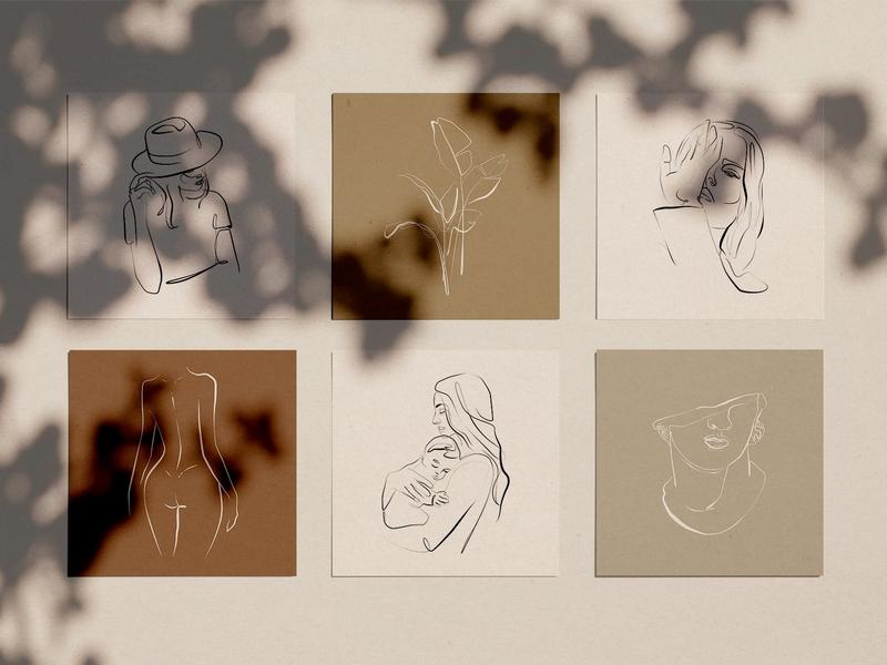 Elegant One Line Sketches vol.2 one line drawing one line artwork wall art vector illustration abstract modern logo design elements design clipart drawing flowers floral sketches sketch one line sketch one elegant
