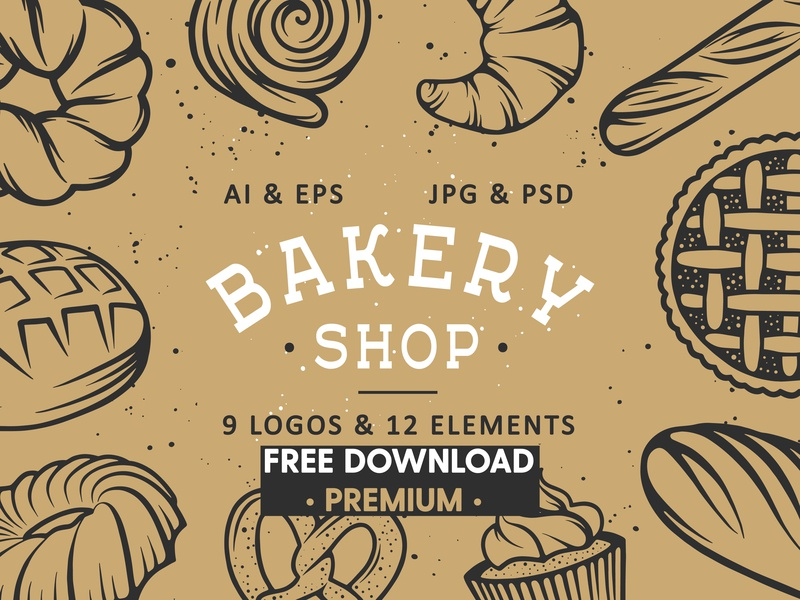 FREE Download - Bakery logos and elements flour desser bake stamp sketch background vector illustration baking design elements logos bakery shop bakery elements bakery logo bakery logos freebie free download free bakery