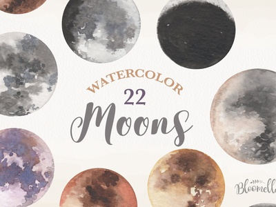 Watercolour Moons 22 Elements Night