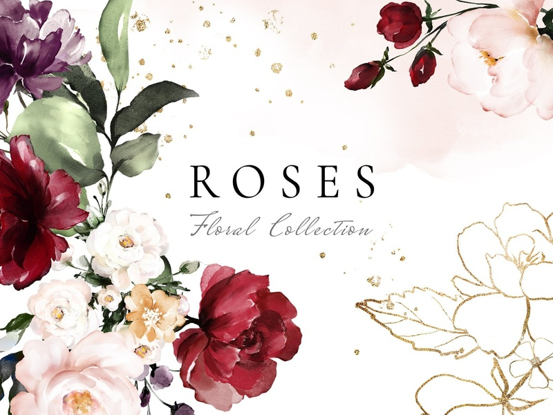 Roses. Watercolor Floral Collection wedding gold illustrations concept background vector illustration rose gold design elements design watercolor flowers watercolor floral flowers clipart floral collection clipart flowers floral watercolor roses rose