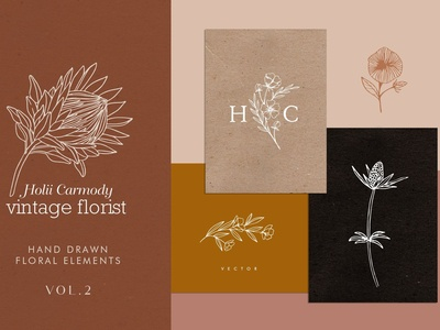 Hand drawn floral logo elements Vol2