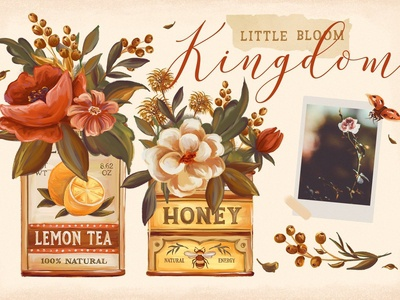 Vintage Tins & Flowers Graphic Set