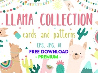 FREE Premium Download - Hand-drawn llama collection