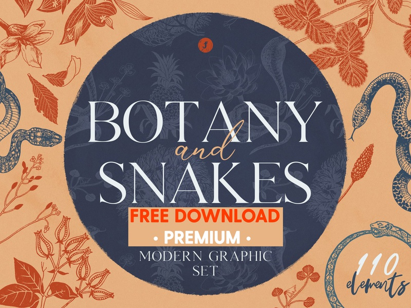 FREE Premium Download - Botany and Snakes vector freebies clipart botanical illustrations abstract pattern print art botanical illustration patterns design illustration snake illustration snake design snakes snake botany freebie free download free