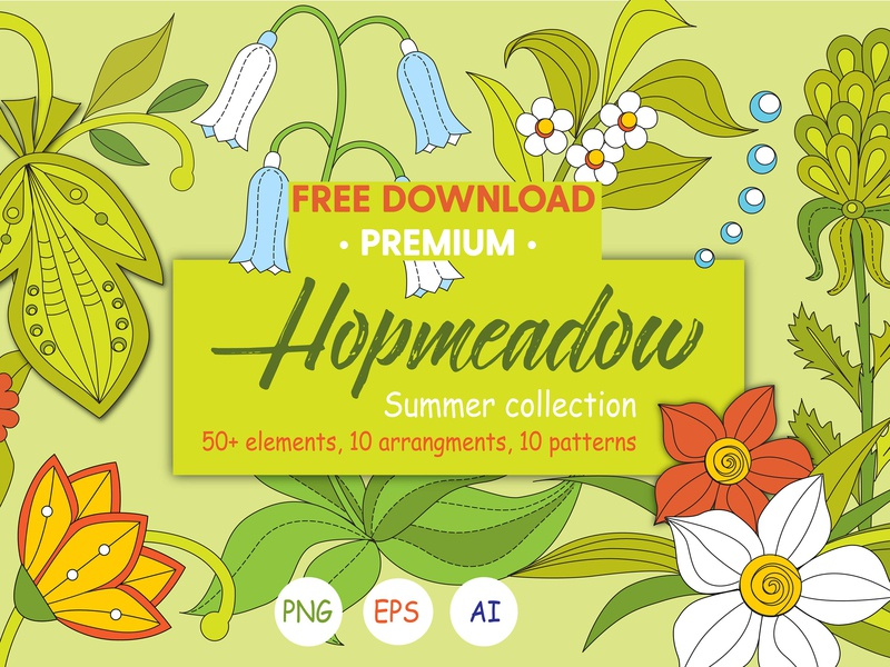 Hopmeadow. Summer collection flowers background vector design illustration graphics collection graphic design graphics graphic elements patterns pattern arrangements elements hopmeadow summer collection summer freebie free premium download free download free
