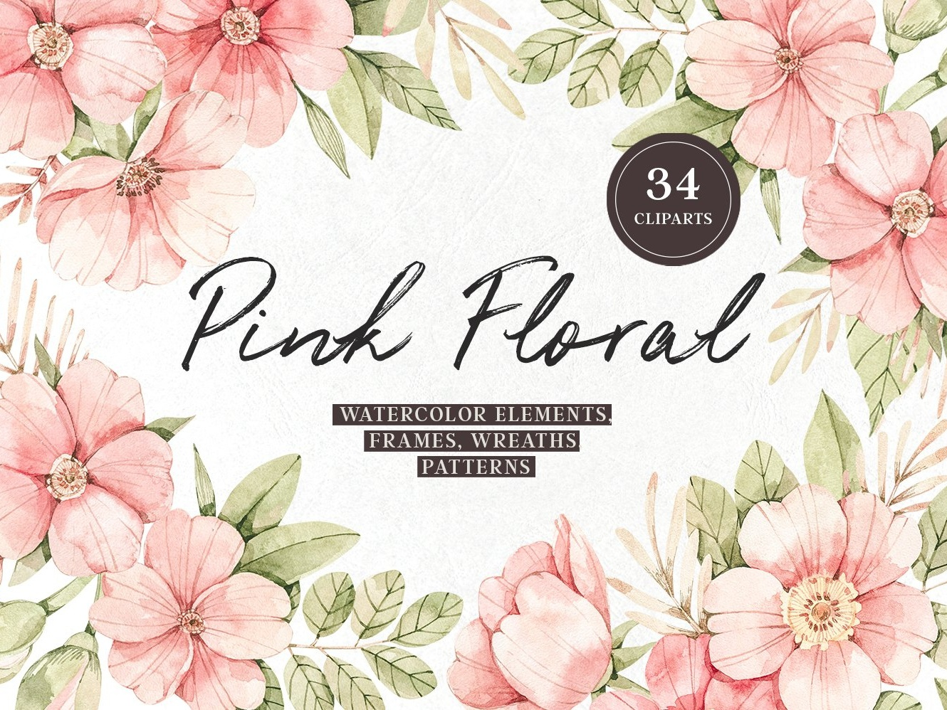 Pink Floral Watercolour Set By Graphics Collection On Dribbble