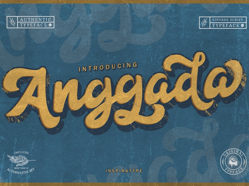 Anggada - Vintage Script Font by Graphics Collection on Dribbble