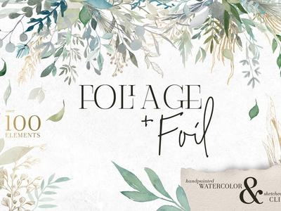 Foliage + Foil - Botanical Clipart