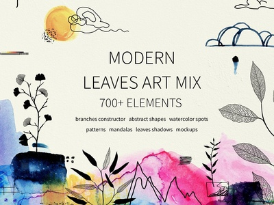 Modern graphic elements. Art leaves