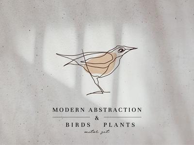 Modern Abstraction Birds & Plants