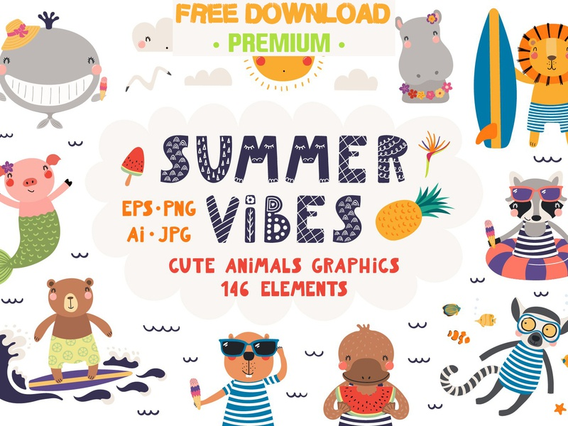 Summer Vibes, Cute Animals Graphics design illustration free download psd vector graphic assets graphics collection graphic design graphic elements elements cute animals graphics graphic animals animal cute summer vibes summer free downloads free download freebie