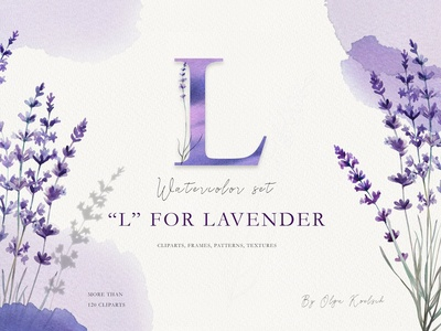 Watercolor Love Lavender Set