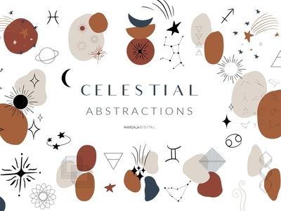 Celestial Abstract Set, Zodiac Stars