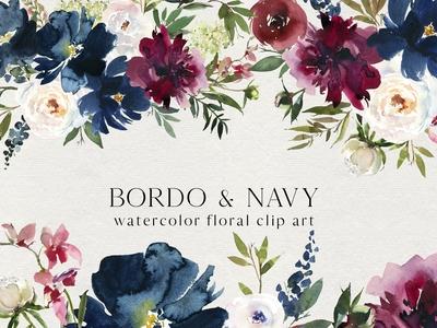 Bordo & Navy Watercolor Flowers PNG