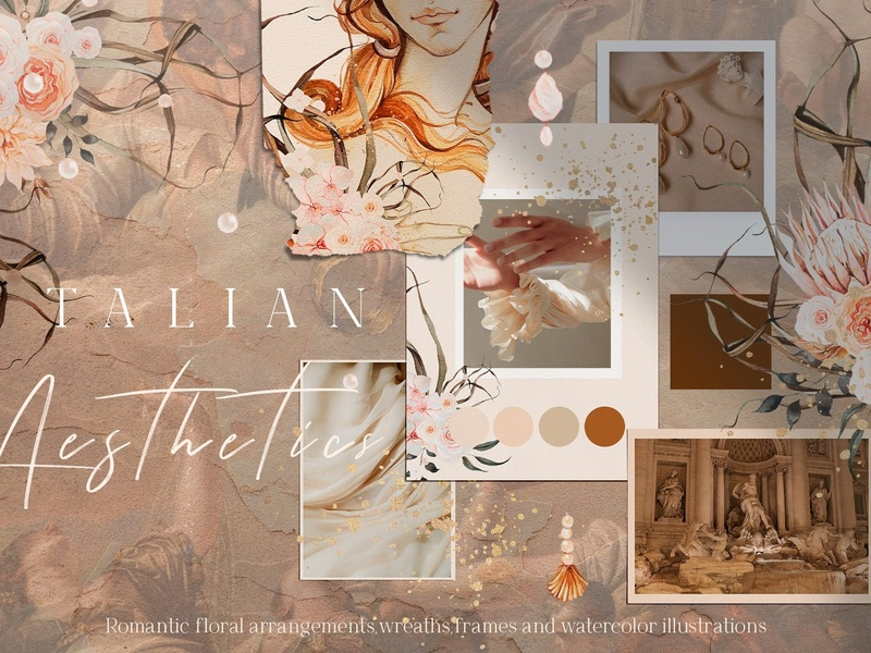 Watercolor Collection italian italian aesthetics aesthetics floral flowers delicate inspiration watercolor elegant watercolor collection romantic flowers watercolor flowers floral wreath wreath clipart design elements floral illustration floral frame pink terracotta