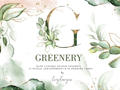 Greenery Watercolor & Gold elements