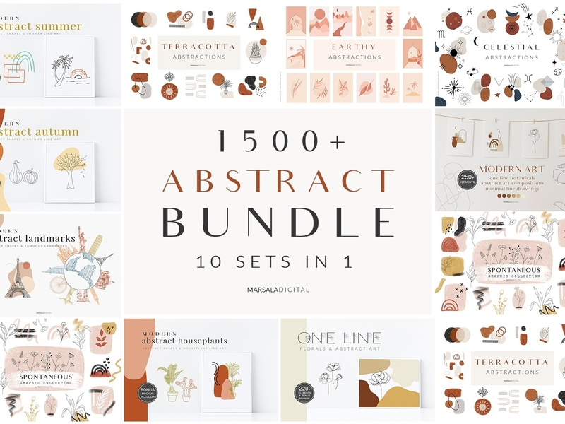 Abstract Bundle One Line Drawings By Graphics Collection On