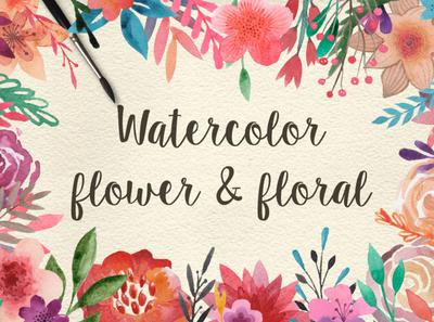 159 Watercolor flowers & florals