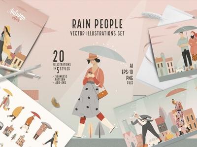 Rain people, vector illustrations
