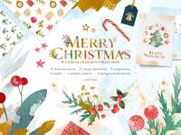Merry Christmas Watercolor Design Set