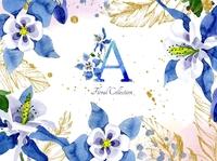 Watercolor flower Aquilegia blue