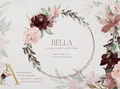 Bella Florals & Watercolor Alphabet