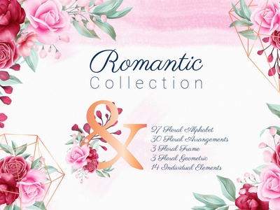 Romantic Watercolor Flowers Collection Bundle