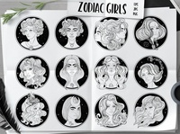 12 Zodiac Girls. Vector set.