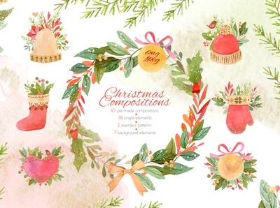 Watercolor Christmas Compositions Set