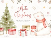 White Christmas Watercolor Clip Arts