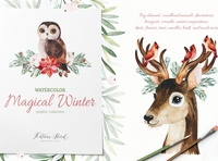 Magical Winter.Watercolor collection