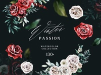 WINTER PASSION Watercolor Floral Set