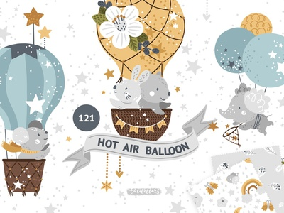 Hot Air Balloon Clipart Patterns By Graphics Collection On Dribbble