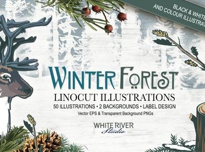Winter Forest Linocuts