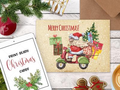 Watercolor Christmas Card Clip Art Holiday Card Set template