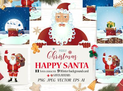 Santa Character Vector Christmas set