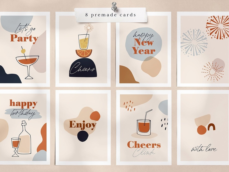 Abstract New Year's party set decorative printing print clip art background vector illustration abstract shapes abstract shape abstract poster modern design poster design poster template poster party shapes shape abstract new year