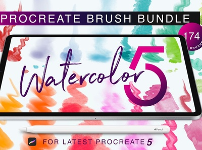 Procreate 5 Watercolor Brush Bundle