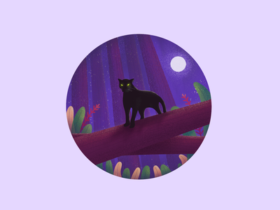 Forest Series 2 wildlife brown purple blue concept color dribbleshot ipad procreate textured illustration flat illustration illustration puma forest animals trees forest