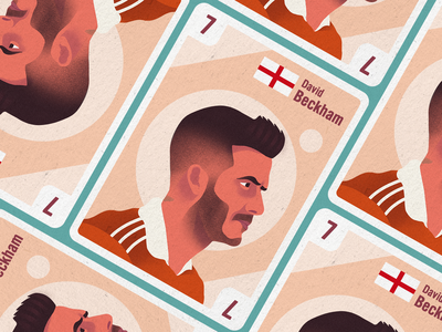Football Legends Cards - Beckham textured illustration sports legends football illustration flat illustration design color character avatar david beckham beckham
