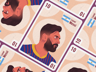Football Legends Cards - Messi textured illustration football sports minimal illustration legends flat illustration design lionel messi color character avatar design avatar