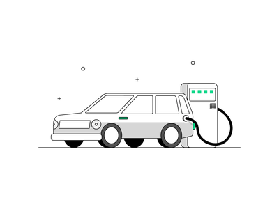 Electric Car- 3 flat illustration product illustration car model estate car vector ui travel vehicle minimal lineart illustrator illustration electric car car
