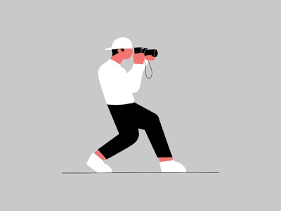 Daily Challenge #1 clean minimal camera photographer photography character design character flat illustration illustration