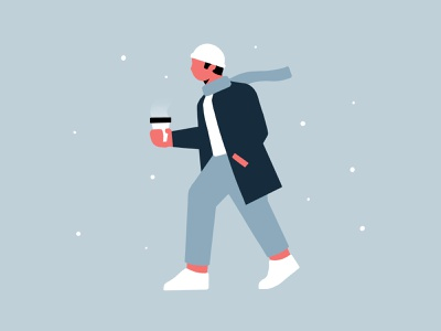 Daily Challenge #4 walking coffee snow winter character design character clean minimal flat illustration illustration