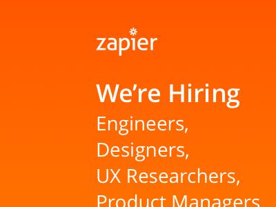 """Zapier """"We're Hiring"""" flyer conference flyer hiring zapier"""