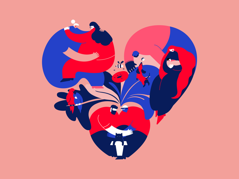 Shapes of love 💕 design heart celebratelove valentine animation colorful vector web design mobile print diversity love dribbbleweeklywarmup valentines day product design illustration